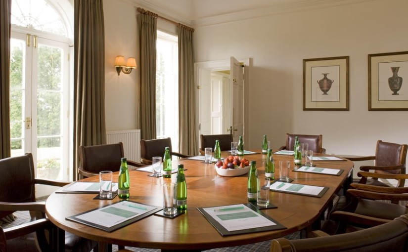 Highfield Park Venue Hire RG2, board room set up with water on table