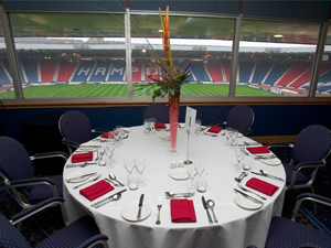 Hampden Park Summer Party G4, stunning views of the iconic pitch, seated dinner