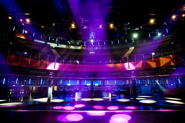 Indigo at The O2 Christmas Party SE10. event space for a standing reception with festive lighting.