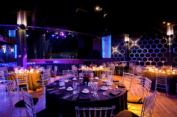 Indigo at The O2 Christmas Party SE10. Event space with banqueting tables set up for an Christmas party