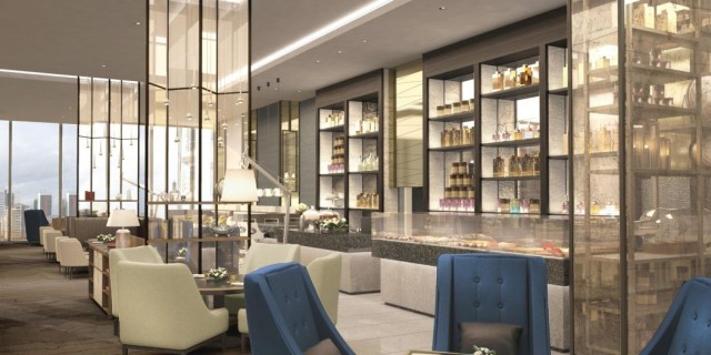 InterContinental at the 02 London Venue Hire SE10, Meridian lounge, stunning interior, seating, bar