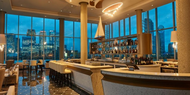 InterContinental at the 02 London Venue Hire SE10, stunning bar, views of canary wharf, modern interior