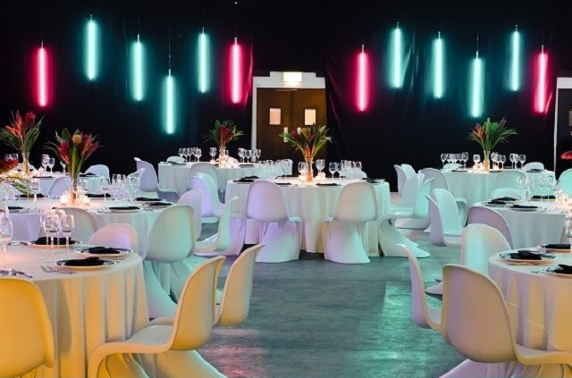 Kia Oval Shared Christmas Party SE11. festive lighting, lighting up venue space.