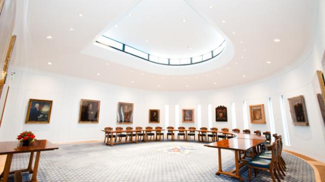 Court Room open circular boardroom layout Haberdashers' Hall Venue Hire EC1