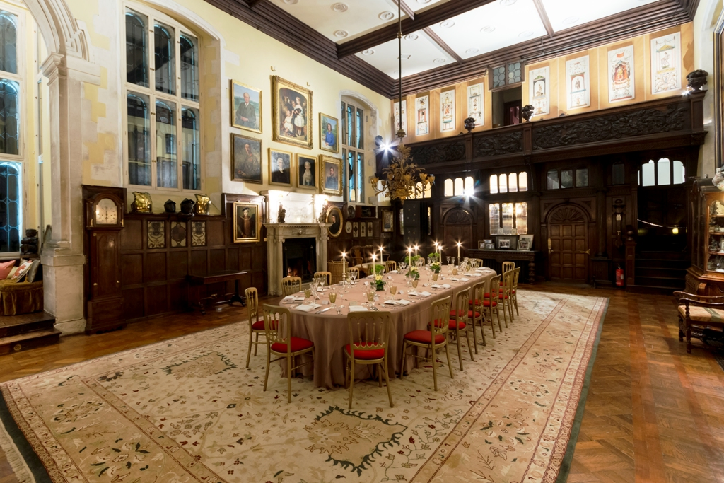 Loseley Park Venue Hire GU3, old hall with decor for dining