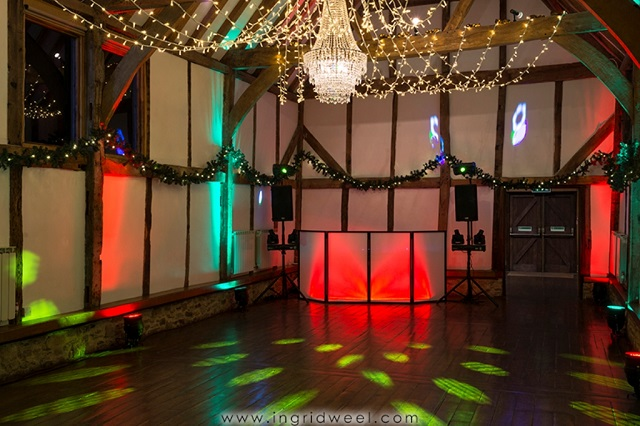 Loseley Guildford Park Christmas party GU3. Evening event, Christmas party. Dance floor with festive lighting.