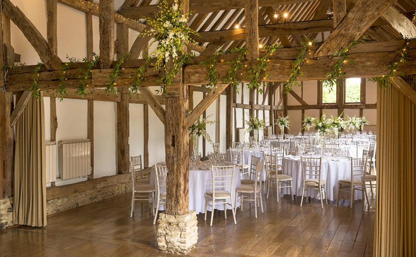 Loseley Park Venue Hire GU3, barn with round tables