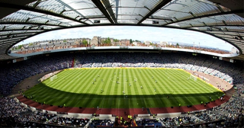 Hampden Park Summer Party G4, iconic pitch, tiered seating