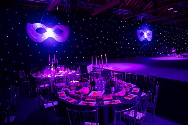 Aldenham Park Masquerade Ball Christmas Party WD6, round rables, staging, theming