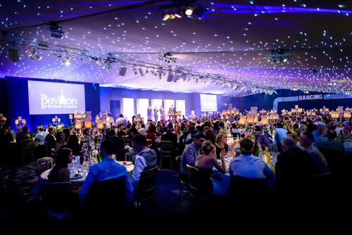 Pavilion at the Tower of London Shared Christmas Party EC3, shared christmas party, round tables, seated dinner