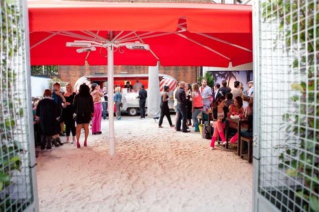 Ouside space, themed for a summer party. Ministry Of Sound Summer Party SE1