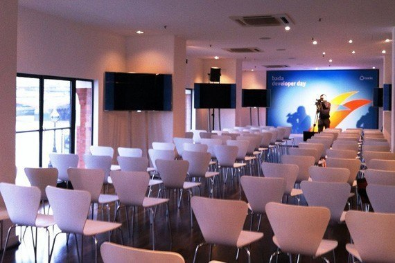OXO2 Venue Hire SE1, theatre style set up, large screen at the fron, natural daylight