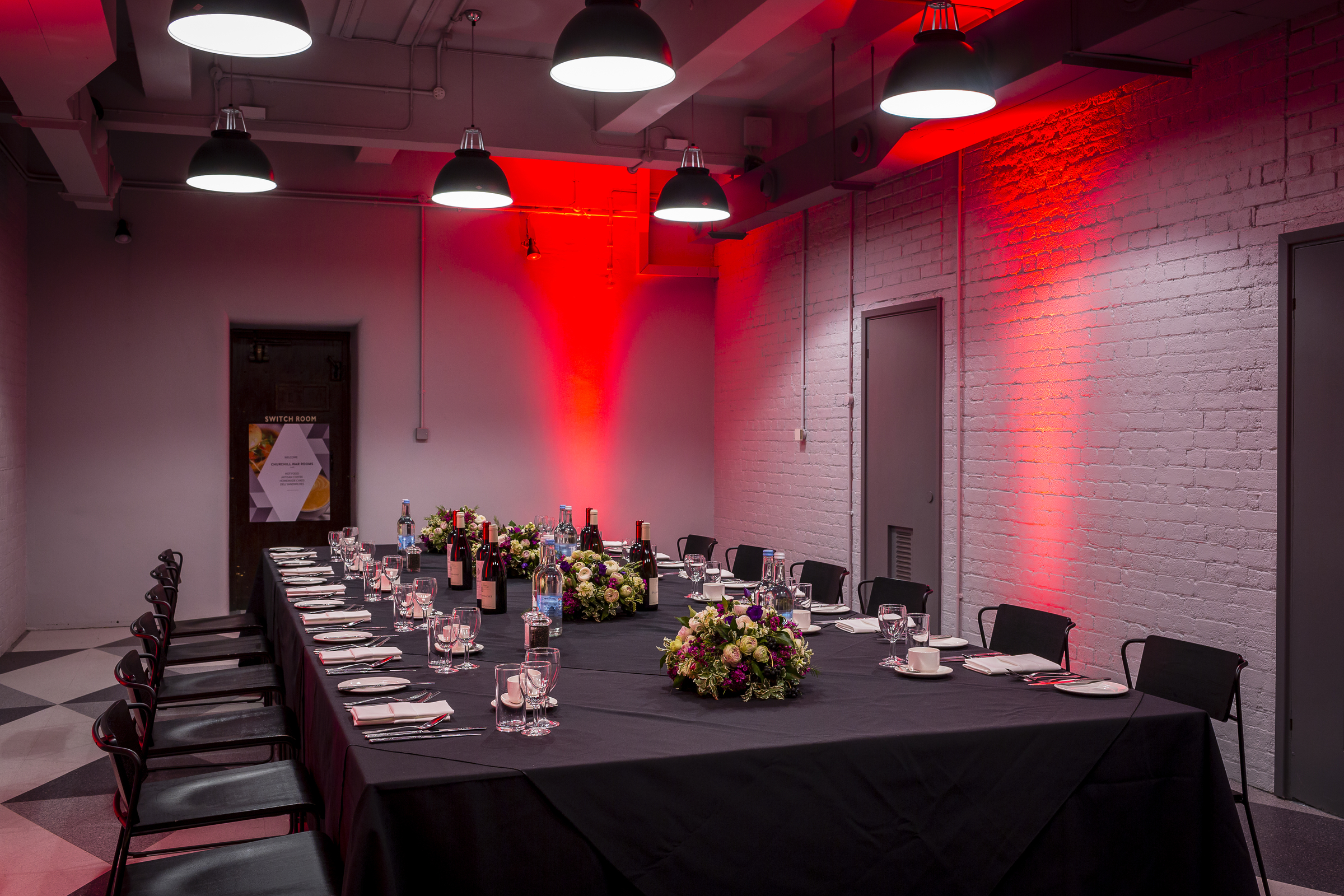 Churchill War Rooms Venue Hire SW1. Private dining area decorated for guests