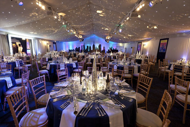 Conservatory at Painshill Shared Christmas Party KT11, ceiling lighting, draping, round tables with christmas decorations