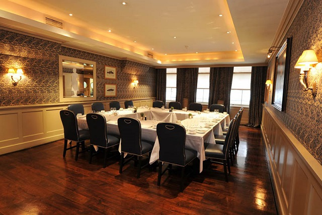 Bentley's Bar Grill Venue Hire W1. Banqueting style layout. Contempary feel.
