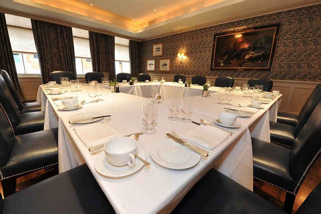 Bentley's Bar Grill Venue Hire W1. Room laid out for a meeting with a fresh, contempary feel.