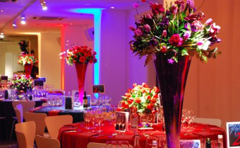 OXO2 Christmas Party SE1, stunning table centre pieces, round tables for a seated dinner