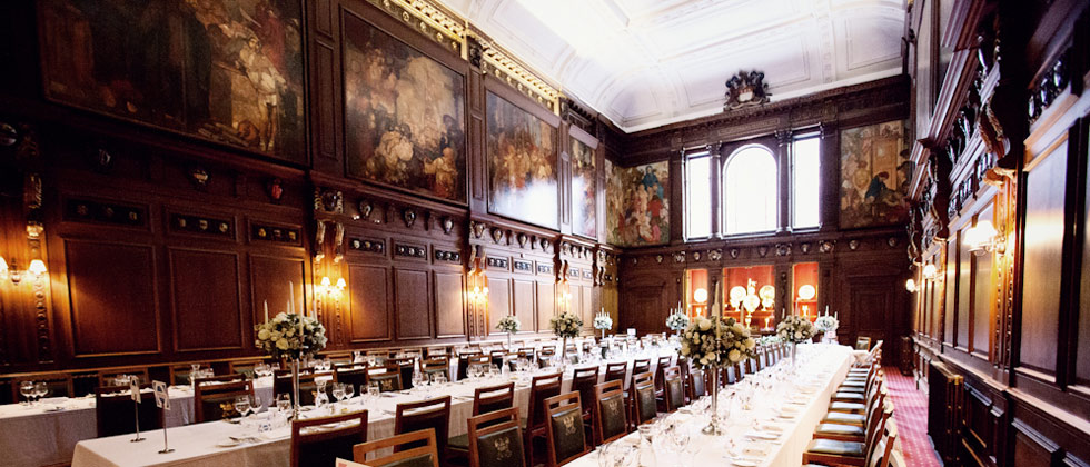 Skinners Hall London Venue Hire EC4, main hall set up for private dining