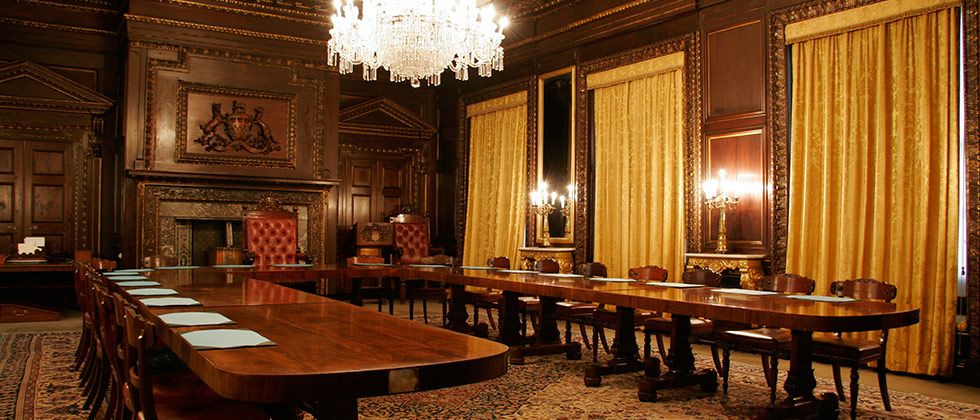 Skinners Hall London Venue Hire EC4, set up for a conference board room style