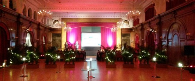 Porchester Hall Christmas Party W2, reception area,poseur table, large screen,festive decorations
