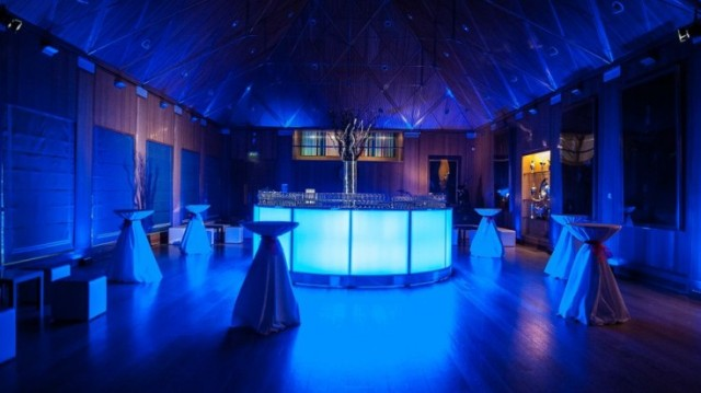 Liver Hall drinks reception blue mood lighting Haberdashers' Hall Venue Hire EC1