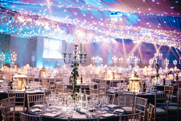 Pavilion at the Tower of London Shared Christmas Party EC3 festive table and chairs set out for guests to enjoy their christmas party