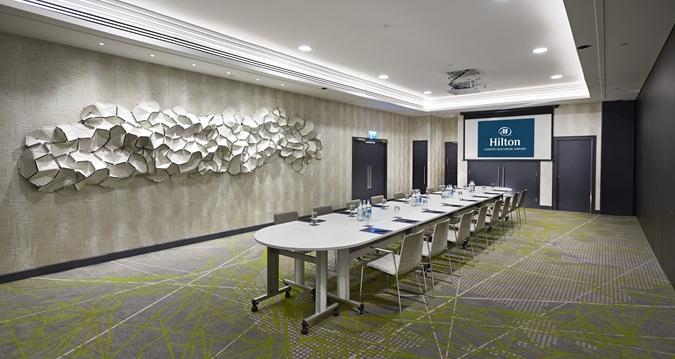 Hilton Heathrow Terminal 4 Venue Hire TW6, board room set up in nude room