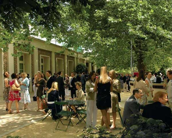 Hurlingham Club Venue Hire SW6, outdoor area with guests having a bbq