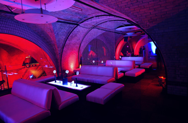 Old Billingsgate Vaults Christmas Party EC3, seated area, draping