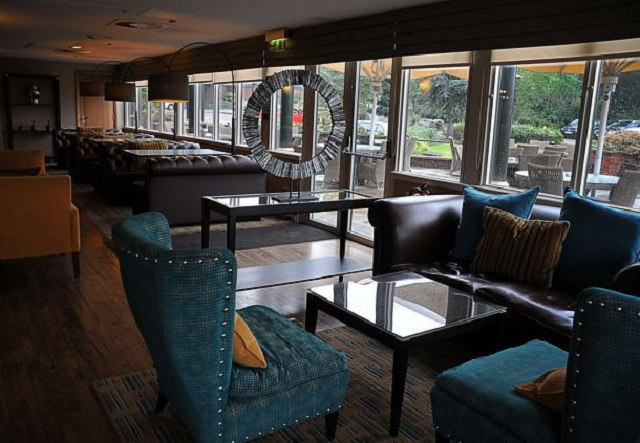 Manchester Marriott Victoria Albert Hotel Christmas Party M34 . Seating area with outside views