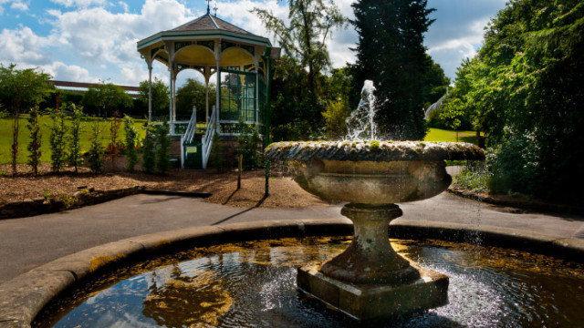 View of the venues bandstand outside next to a water fountain Birmingham Botanical Gardens Summer Party B15