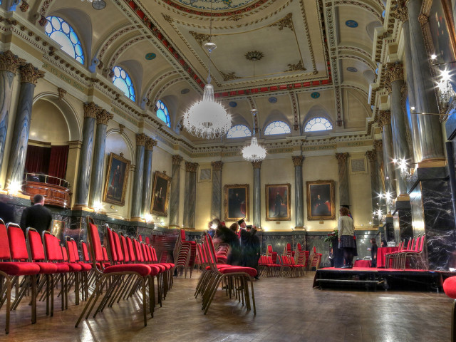Cutlers Hall Venue Hire S1, theatre style seating, large screen, chandeliers
