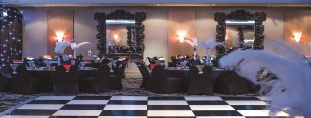 Hallmark Hotel Manchester Christmas Party SK9, seated dinner, stunning centre pieces, dancefloor