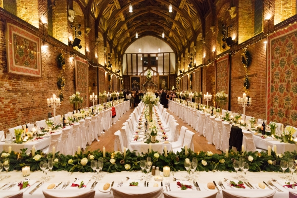 Hatfield House Christmas Party AL9, seated dinner, stunning centre pieces, traditional venue, high ceilings