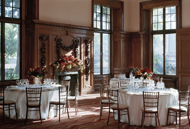 Edwardian Rooms Venue Hire, seated dinner set up, natural daylight