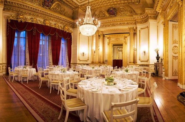 Lancaster House Christmas Party, seated dinner, stunning interior