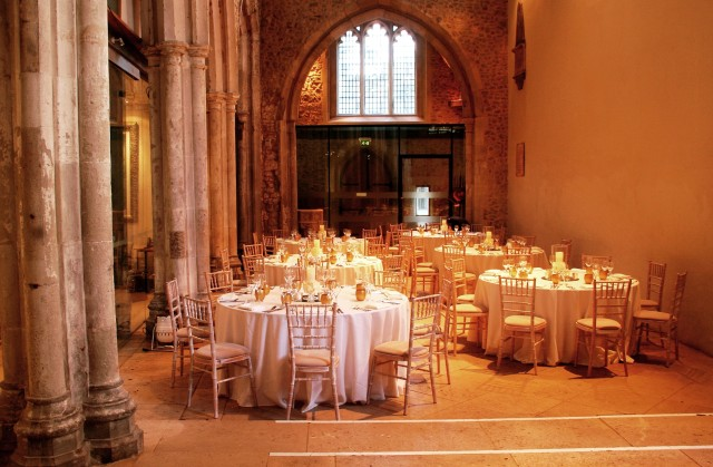 78 Bishopsgate Venue Hire EC2, seated dinner, columns, arches