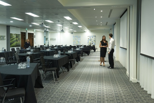 Conference Suite set up in cabaret style with presentation facilities for a formal meeting 8 Fenchurch Place Venue Hire EC3