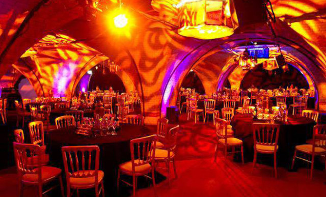 Old Billingsgate Vaults Shared Christmas Party EC3, seated dinner, vaults, lighting