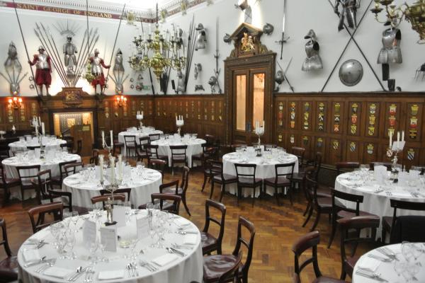 Armourers Hall Venue Hire EC2, armour features, seated dinner, historic venue
