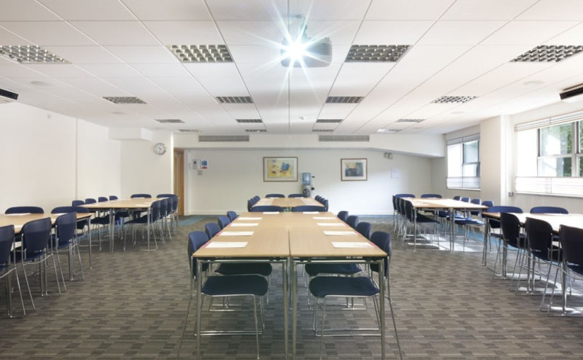 Meeting Room with lots of natural daylight and set up in classroom style Avonmouth House Venue Hire SE1