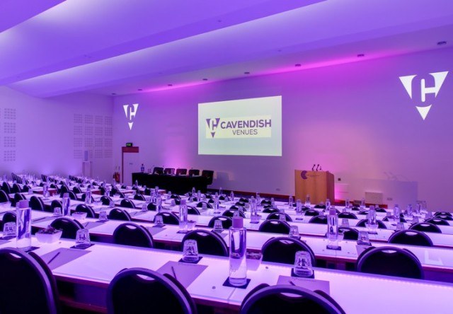 Auditorium in theatre style with presentation facilities set for a conference Cavendish Conference Centre Venue Hire W1