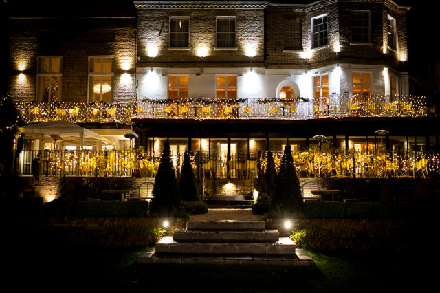 Christmas Fairy Lights on the outside of the hotel at night Bingham Hotel Christmas Party TW10