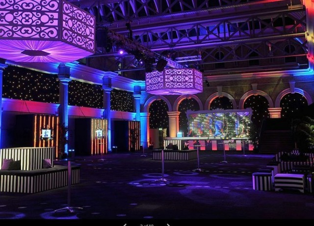 Old Billingsgate Shared Christmas Party EC1 reception drinks area, poseur tables and lighting, bar and seating