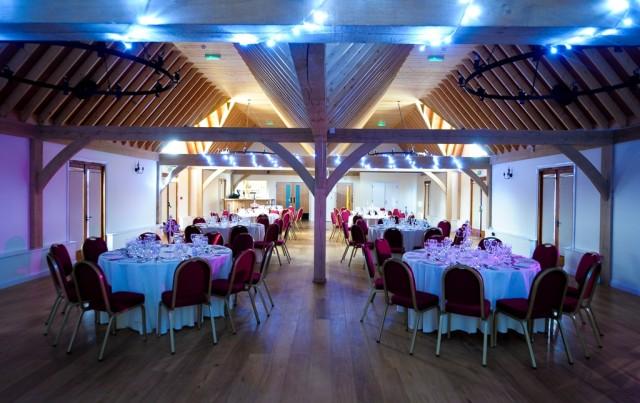 Knebworth House Venue Hire Hertfordshire , cobbold barm, seated dinner, lighting