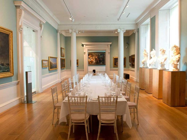 Ground Floor Space set for a private banquet with table set in the centre of the room Compton Verney Venue Hire CV35