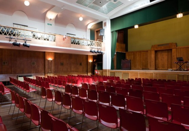 Main Hall set up in theatre style for a large conference facing the stage Conway Hall Venue Hire WC1