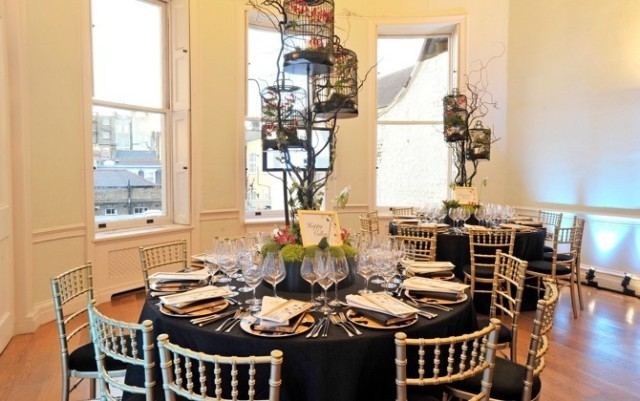 Asia House Venue Hire W1, seated dinner, centre pieces, round tables
