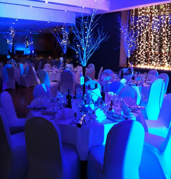 Washington Mayfair Hotel Christmas Party W1J. Banqueting tables with centre pieces