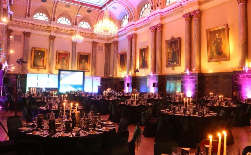 Cutlers Hall Venue Hire S1, seated dinner, uplighting, colour wash